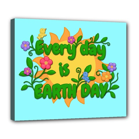 Earth Day Deluxe Canvas 24  X 20   by Valentinaart