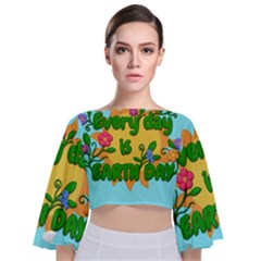 Earth Day Tie Back Butterfly Sleeve Chiffon Top by Valentinaart