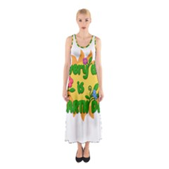 Earth Day Sleeveless Maxi Dress