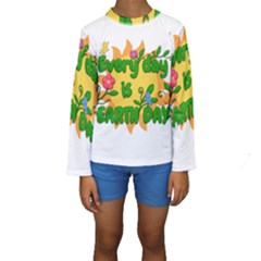 Earth Day Kids  Long Sleeve Swimwear