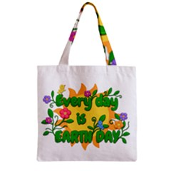 Earth Day Zipper Grocery Tote Bag