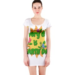 Earth Day Short Sleeve Bodycon Dress