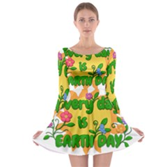 Earth Day Long Sleeve Skater Dress
