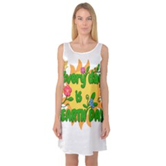 Earth Day Sleeveless Satin Nightdress
