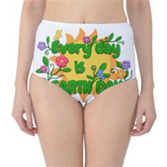 Earth Day High-Waist Bikini Bottoms