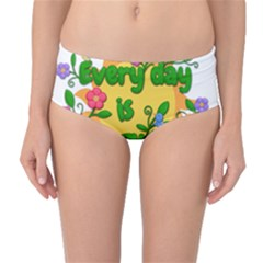 Earth Day Mid-Waist Bikini Bottoms