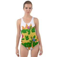 Earth Day Cut-Out Back One Piece Swimsuit