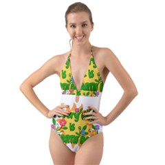 Earth Day Halter Cut-Out One Piece Swimsuit