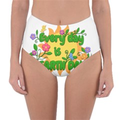Earth Day Reversible High-Waist Bikini Bottoms