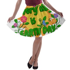 Earth Day A-line Skater Skirt