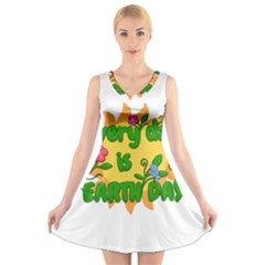 Earth Day V-Neck Sleeveless Skater Dress