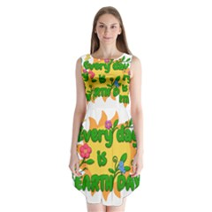 Earth Day Sleeveless Chiffon Dress