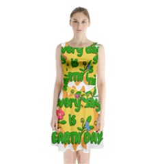 Earth Day Sleeveless Waist Tie Chiffon Dress