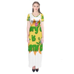 Earth Day Short Sleeve Maxi Dress