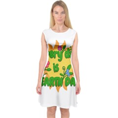 Earth Day Capsleeve Midi Dress