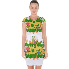 Earth Day Capsleeve Drawstring Dress