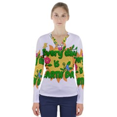 Earth Day V-Neck Long Sleeve Top