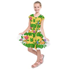 Earth Day Kids  Short Sleeve Dress