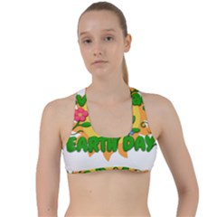 Earth Day Criss Cross Racerback Sports Bra