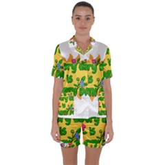 Earth Day Satin Short Sleeve Pyjamas Set