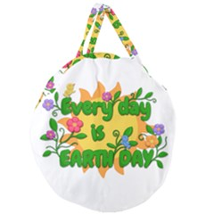 Earth Day Giant Round Zipper Tote