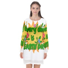 Earth Day Long Sleeve Chiffon Shift Dress