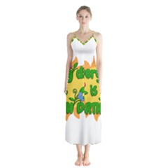 Earth Day Button Up Chiffon Maxi Dress