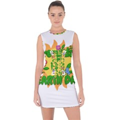 Earth Day Lace Up Front Bodycon Dress