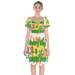 Earth Day Short Sleeve Bardot Dress