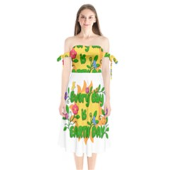 Earth Day Shoulder Tie Bardot Midi Dress