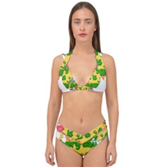 Earth Day Double Strap Halter Bikini Set