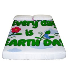 Earth Day Fitted Sheet (queen Size) by Valentinaart