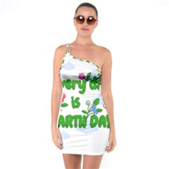 Earth Day One Soulder Bodycon Dress
