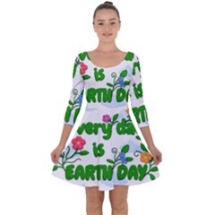 Earth Day Quarter Sleeve Skater Dress