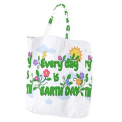 Earth Day Giant Grocery Zipper Tote