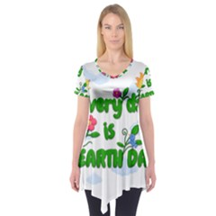 Earth Day Short Sleeve Tunic  by Valentinaart