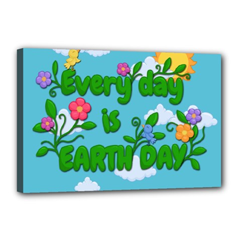 Earth Day Canvas 18  X 12  by Valentinaart