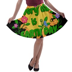 Earth Day A Line Skater Skirt by Valentinaart