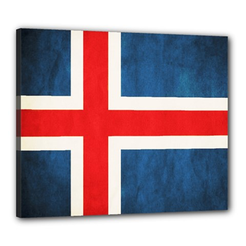 Iceland Flag Canvas 24  X 20  by Valentinaart