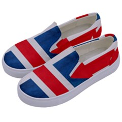 Iceland Flag Kids  Canvas Slip Ons by Valentinaart