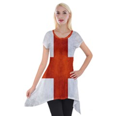 England Flag Short Sleeve Side Drop Tunic by Valentinaart