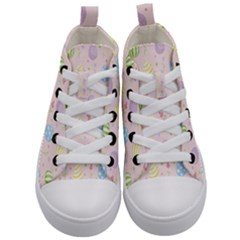 Easter Pattern Kid s Mid Top Canvas Sneakers