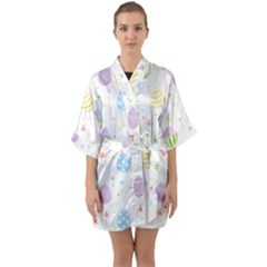 Easter Pattern Quarter Sleeve Kimono Robe by Valentinaart