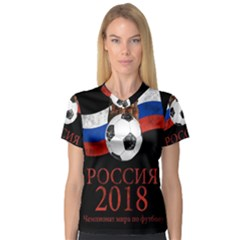 Russia Football World Cup V Neck Sport Mesh Tee
