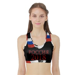 Russia Football World Cup Sports Bra With Border by Valentinaart