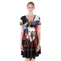 Russia Football World Cup Short Sleeve V Neck Flare Dress