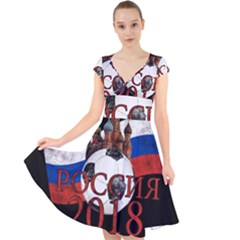 Russia Football World Cup Cap Sleeve Front Wrap Midi Dress by Valentinaart