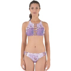 Wonderful Soft Violet Roses With Hearts Perfectly Cut Out Bikini Set