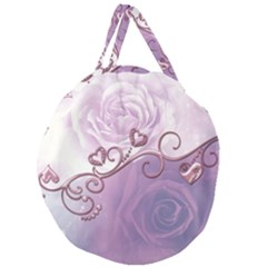 Wonderful Soft Violet Roses With Hearts Giant Round Zipper Tote by FantasyWorld7