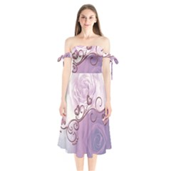 Wonderful Soft Violet Roses With Hearts Shoulder Tie Bardot Midi Dress by FantasyWorld7